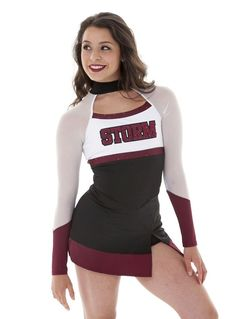 Dance team and cheer game day uniform. Dress with mesh sleeves and high neck- perfect sideline costume! Dance Team Uniforms, Cheerleading Uniforms, Hot Cheerleaders, Cheer Uniforms, Dance Team Pictures, Uniform Dress, Fit Team, Cute Young Girl, Halloween Disfraces