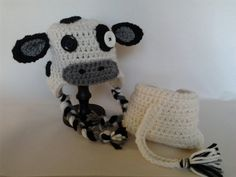 Baby Cow Earflap Hat and Diaper Cover Set by Evermicha on Etsy, $30.00