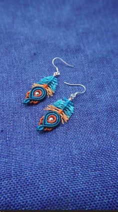 Macrame Earrings Tutorial, Macrame Tutorial, Crochet Earrings, Feather Earrings, Drop Earrings, Micro Macrame, Macrame Jewelry, Bird Feathers, Tatting