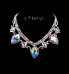 """Gentle Rain"" - Swarovski ballroom necklace. Ballroom dance jewelry, ballroom dance accessories. www.tzafora.com Copyright © 2015 Tzafora. Handmade in Canada."