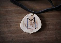 EHWAZ Rune necklace  Wooden rune necklace  Juniper pendant