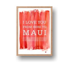 Maui watercolor typography printable travel art print by ArtMii Design Watercolor Typography, Watercolor Print, Ribba Frame, Watercolor Background, Hawaii Travel, Textured Background, Maui, Anniversary
