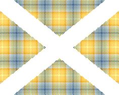 Pale blue and yellow tartan pattern in the by crossstitchtheline