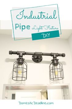 Learn how to use gas pipes to build an industrial farmhouse light fixture. Gas pipe fittings and some electrical supplies for a one of a kind light fixture Industrial Bathroom Lighting, Industrial Light Fixtures, Industrial Pipe, Industrial Farmhouse, Diy Pipe Light Fixture, Farmhouse Light Fixtures, Farmhouse Lighting, Pipe Lighting, Task Lighting