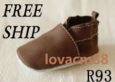 R93 NEW Brown Baby Toddler Adult MAN Soft COW Leather Crib Shoe Sliiper 13  Size |