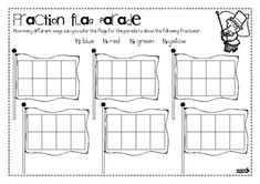 These 2 worksheets require students to color flags in different ways to indicate fractions....