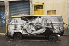 São Paolo based artist Claudio Ethos uses an old van as a backdrop for his latest piece, a work of street art that can actually move through the streets!