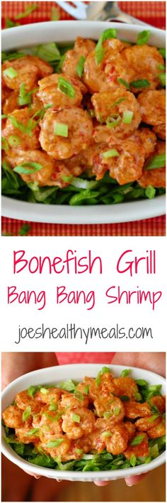 Bonefish Grill bang bang shrimp collage. Copycat recipe of the crunchy, spicy shrimp served by Bonefish Grill.   joeshealthymeals.com