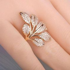 Exquisite Micro Pave Zircon Ring Tree Flower Leaf Shape Rings For Women Copper Gold Plated Elegant Party Anillos Bijouterie Jewelry Party, Bridal Jewelry, Gold Jewelry, Jewelry Rings, Jewelry Accessories, Jewelry Design, Fashion Accessories, Fine Jewelry, Designer Jewellery