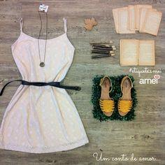 Fofuras da @loja_amei ♡ #etiquetaamei #lojaamei #vestido #sandalia #mostarda