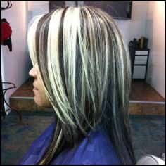 silver chunks in shoulder length hair | platinum blonde chunks w/truffle brown base and cut