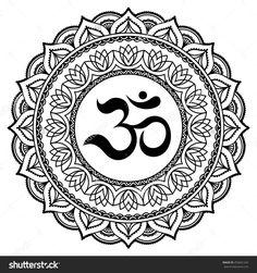 Vector henna tatoo mandala.OM decorative symbol. Mehndi style.