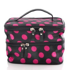 #deal Housweety Unique Dots Pattern Double Layer Cosmetic Bag Black (a, dots)