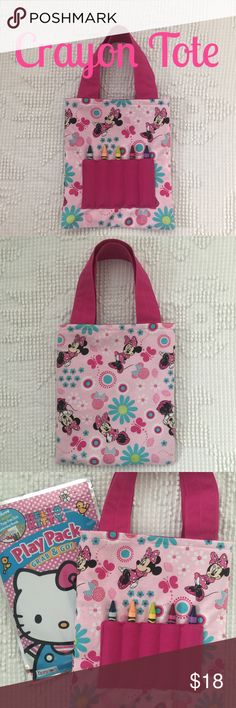 "Mini Crayon Tote! NWT! Minnie Mouse  Mini crayon tote! NWT! Minnie Mouse character print. Size is approx 7""x8"". Smoke free home! Includes mini coloring book and crayons. Accessories Bags"