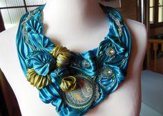 silk necklace with ceramic cabochon from Golem Design and swarovski rivoli on Etsy, $184.67 AUD