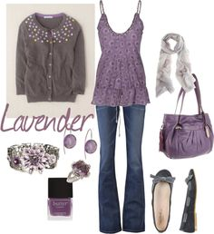 """Lavender and grey"" by kristen-344 ❤ liked on Polyvore"
