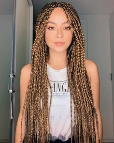 Top 60 All the Rage Looks with Long Box Braids - Hairstyles Trends Blonde Box Braids, Short Box Braids, Black Girl Braids, Girls Braids, Brown Box Braids, Colored Box Braids, African Braids Hairstyles, Wig Hairstyles, Quick Braided Hairstyles