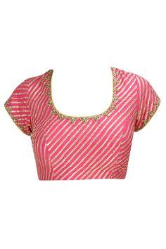 Dark pink dabka and gota embroidered blouse. By Nzuri. Shop now at… Sari Blouse Designs, Choli Designs, Fancy Blouse Designs, Blouse Styles, Indian Blouse, Beautiful Blouses, Embroidered Blouse, Model, Pink Saree