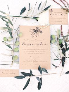Wedding Invitations for an Olive Grove Wedding in France