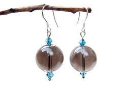 smoky quartz earrings - smokey quartz - swarovski crystal - sterling silver ear hooks - handmade by Rockin'Lola