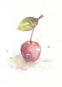 Fruit, fruit print, art, watercolor painting, watercolor art print, watercolor,Red cherry--- original watercolor print, No-34. $15.00, via Etsy.