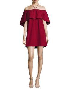 Jada Off-the-Shoulder Cape Dress, Wine