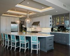 Contemporary Kitchen Photos Grey Cabinets Design, Pictures, Remodel, Decor and Ideas - page 12 Kitchen Style, Decor, Kitchen Cabinet Doors, Blue Kitchen Designs, Interior Design Rustic, Kitchen Design, Kitchen Room, White Kitchen Bar Stools, Contemporary Kitchen
