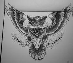 Owl grasping gem Gem represents wisdom?