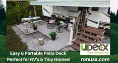 The UDECX Patio Deck is the perfect Easy DIY installation for RV's & Tiny Houses! #tinyhouse #tinyhousemovement #tinyhousenation #tinyhouseonwheels #tinyhouseliving #rv #rvs #rvlife #camping #camper #motorhomes #motorhome