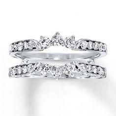 Fashioned to beautifully complement your diamond solitaire ring, this enhancer ring features sparkling round diamonds totaling carat in weight. The ring is crafted in white gold. Moissanite Diamonds, Diamond Solitaire Rings, Solitaire Enhancer, Diamond Jewelry, Wedding Ring Enhancers, Enhancer Wedding Band, Princess Cut Rings, White Gold Diamonds, Round Diamonds