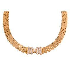 Garrard Diamond & Gold Bow Necklace | From a unique collection of vintage choker necklaces at http://www.1stdibs.com/jewelry/necklaces/choker-necklaces/