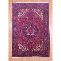 Persian Hand-knotted Heriz Red/ Purple Wool Rug (6'8 x 9'8)