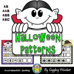 Halloween Pattern Mats.  6 Halloween Themed mats to practice the following patterns: AB, AAB, ABB, ABC.24 Halloween Picture Cards.  Print two copies of the picture cards for a game of Halloween Memory.Halloween Math and Literacy ActivitiesHalloween Cut and PasteHalloween Shadow Match MatsHalloween I Spy MatsHalloween Clip CardsHalloween Trace, Write and Build Cards