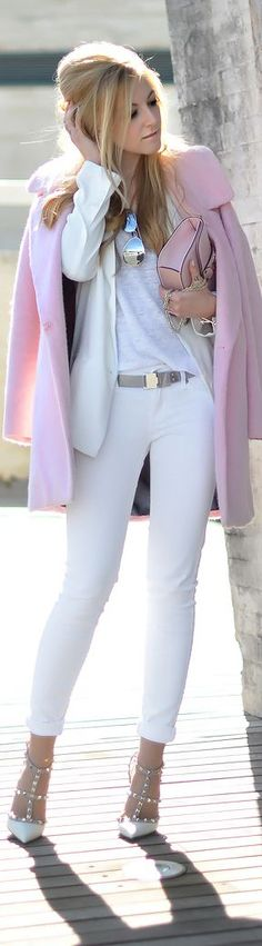 street Style Collection 2015. Pretty white look and casual pink coat and bag