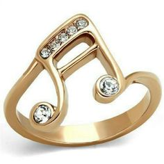 Music Note Ion Rose Gold Finish Ring