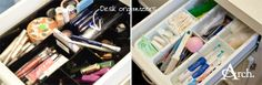Bathroom Cleaning + Organizing Tips: Utilize desk organizers for make-up and other smaller toiletries.