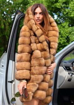 Golden Russian Sable Fur Hooded Coat