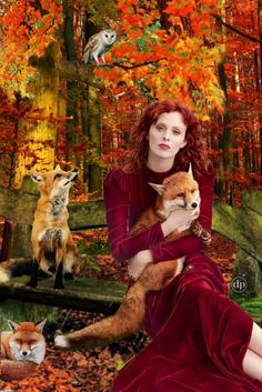 Fox Whisperer.           #digitalcollage #fox  #digitalart #instart #collage #bazaart #photoart #foxy #fall #autumn #autumncolors #owl #animallover #fashionmeetsart