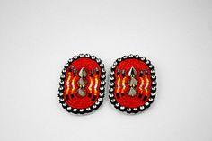 red spike earrings, Eleumne (Ojibwe) Not spikes AND beadwork!!!!