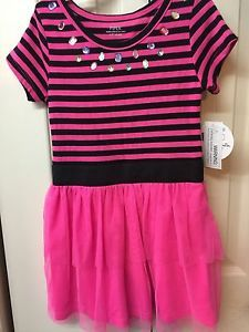 828ea254243 Piper Girl Size 6 6x Hot Pink And Black Tutu Dress Short Sleeves Stripe