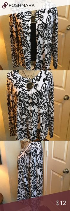 Croft and Barrow Floral Cardigan This is a cute black and white floral print lightweight cardigan sweater that is gently worn. It is 82% Pima cotton with 18% nylon. In wonderful condition. Can be worn as a cardigan  with a black shell as I have shown or a sweater buttoned. croft & barrow Sweaters Cardigans