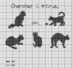 un solo color Cat Cross Stitches, Funny Cross Stitch Patterns, Cross Stitch Charts, Cross Stitching, Cross Stitch Embroidery, Crochet Cross, Filet Crochet, Knitting Charts, Knitting Stitches