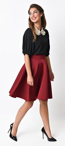 Retro Style Burgundy High Waist Scuba Circle Skirt