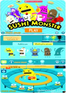 Sushi Monster Free App - a fun math fact practice app from Scholastic created by Fast Math.