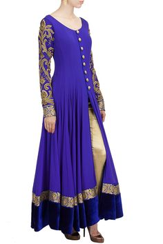 Royal blue embroidered anarkali set BY AKSHAY WADHWA