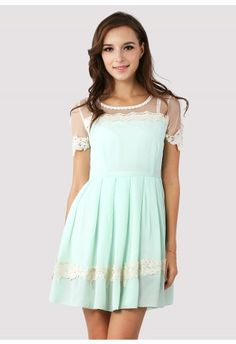 Could be a really cute bridal shower dress.  Dolly Floral Lace Trim Mint Dress