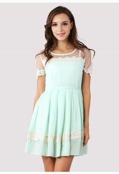 Dolly Floral Lace Trim Mint Dress