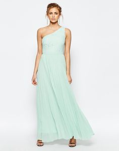 Oasis Lace One Shoulder Pleated Maxi Dress
