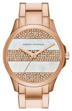 AX Armani Exchange Pavé Stripe Dial Watch, 36mm available at #Nordstrom