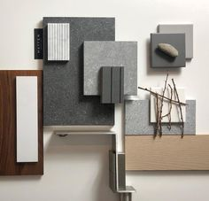 Greys and natural wood Mood Board Interior, Interior Design Boards, Interior Trim, Contemporary Interior Design, Masculine Interior, Arne Jacobsen, Material Board, Colour Board, Colour Schemes